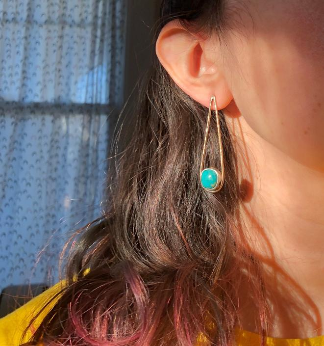 Turquoise Tear Drop Studs in 14k Goldfill and Sterling Silver Handmade and one of a kind by RachelPfefferDesigns
