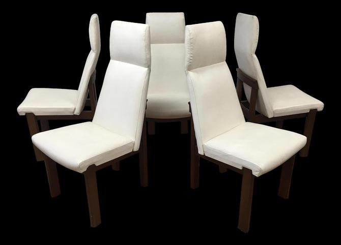 Mid Century Modern dining chairs set of 4 white vinyl | Gre-Stuff.com by GreStuff
