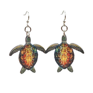 Natural Sea Turtles #T160- Laser Cut Wood Earrnings - from Sustainable Resources by GreenTreeJewelry