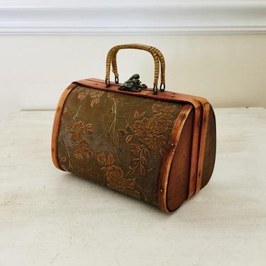Vintage Small Bamboo Wood Handbag Box Purse Embossed Ethnic Boho by AuntyEntitysVintage