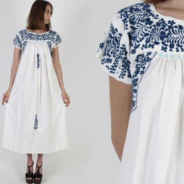 Blue Hand Embroidered Oaxacan Dress From Mexico / Vintage 70s Womens White Cotton Mexican Maxi Dress by americanarchive