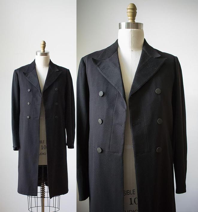 Victorian Frock Coat / Mens Fock Coat / Black Wool Frock Coat / Mens Vintage Coat / Vintage Evening Coat / Frock Coat Small by milkandice