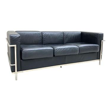 Vintage Le Corbusier Style Chrome and Leather Sofa
