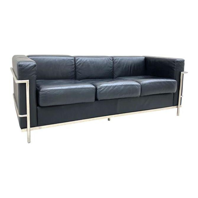 Vintage Le Corbusier Style Chrome and Leather Sofa from Castle ...