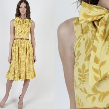 Vintage 50s Yellow Floral Dress / Ascot Large Bow Tie Collar / 1950s Watercolor Print Pin Up Dress / Marigold Cocktail Party Mini Midi Dress by americanarchive