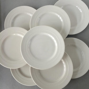 Set of 8 White Salad Plates, Vintage Syracuse Plates, restaurant ware plates, diner plates, restaurant china plates, dessert plate set by theHeirloomYard