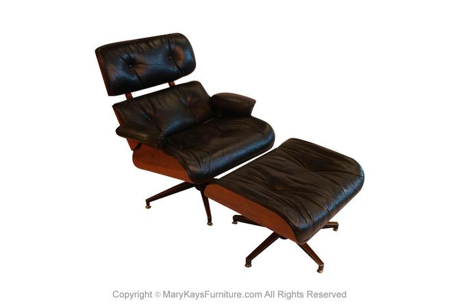 Mid Century Eames Style Swivel Lounge Chair and Ottoman by Marykaysfurniture