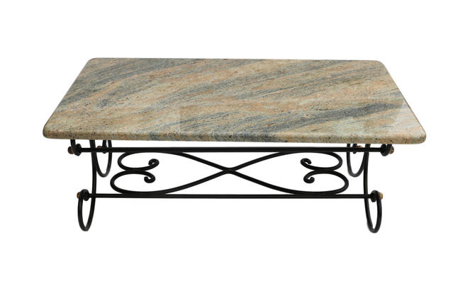 Granite Topped Coffee Table Wrought Iron Metal Base by Marykaysfurniture