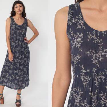 Blue Summer Dress 90s Sundress Rayon Floral Print Midi Dress Empire Waist Boho 1990s Bohemian Vintage Sun Sleeveless Small Medium by ShopExile