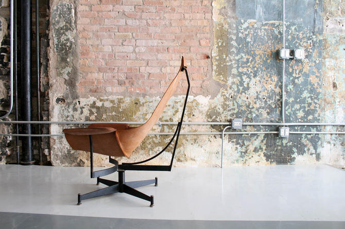 Leather and Steel Lounge Chair by William Katavalos