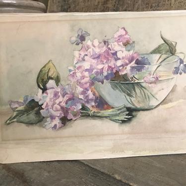 Floral Watercolor Painting, Unframed, Vintage Artwork, Framable Artwork by JansVintageStuff