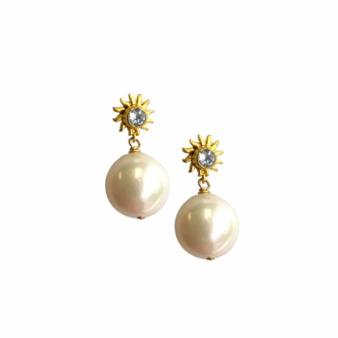 Sun Pearl Drop Earring