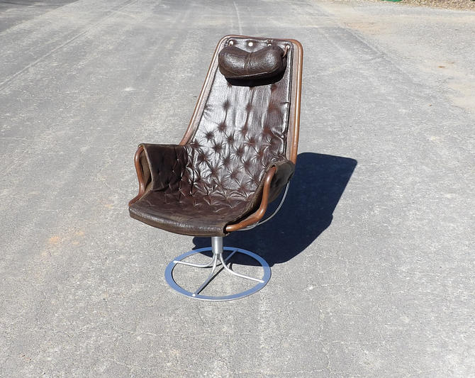 1960's Bruno Mathsson Jetson Chair Mid Century Modern Swedish Danish Modern Lounge Egg Chair Leather Wrapped Frame Metal Chrome Swivel Base by MakingMidCenturyMod