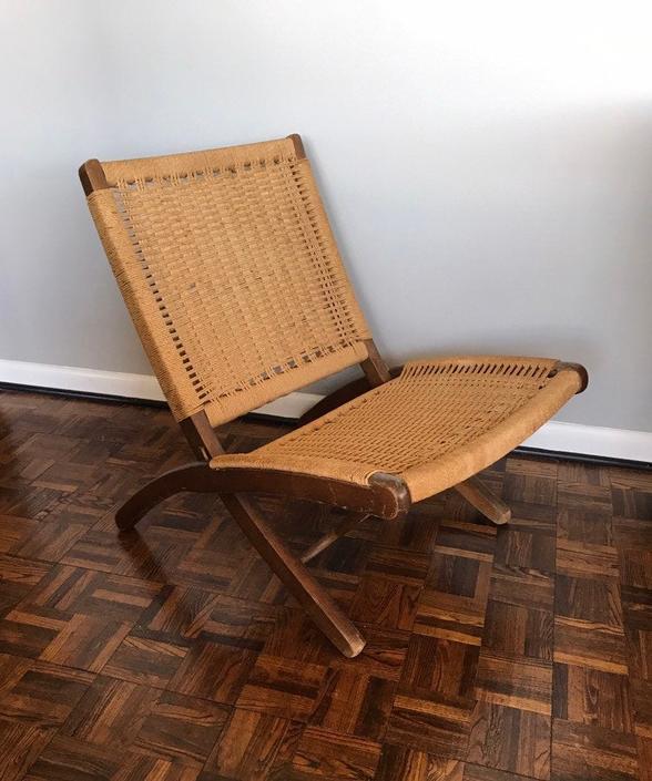 Woven Folding Chair in the Style of Hans Wegner by UrbanInteriorsBalt