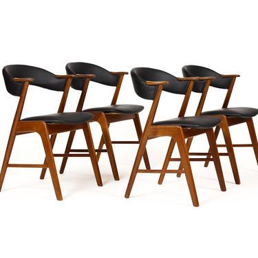 Danish Modern / Mid Century Teak Dining Chairs — Kai Kristiansen – Black Vinyl — Set of Four by atomicthreshold