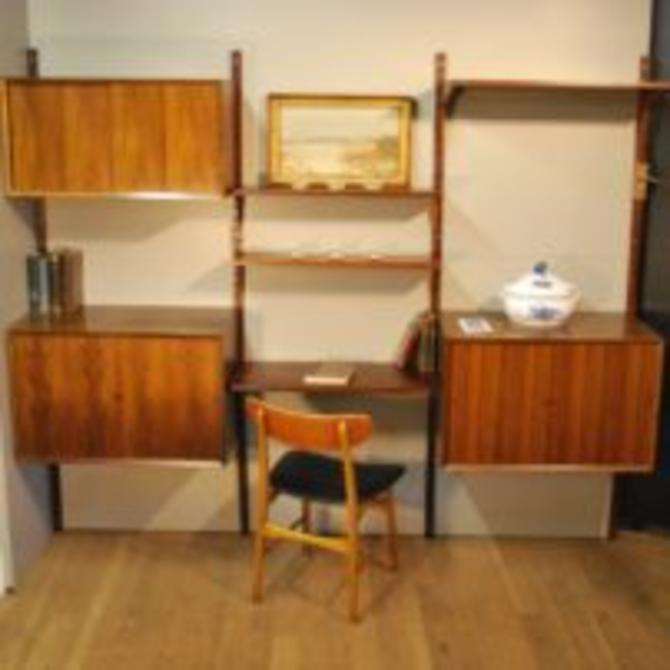 15407 Mid Century Modern Rosewood Reol System Wall Unit, circa 1960