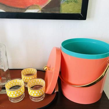 MID CENTURY MODERN Style Pink and Gold Ice Bucket #LosAngeles by HouseCandyLA