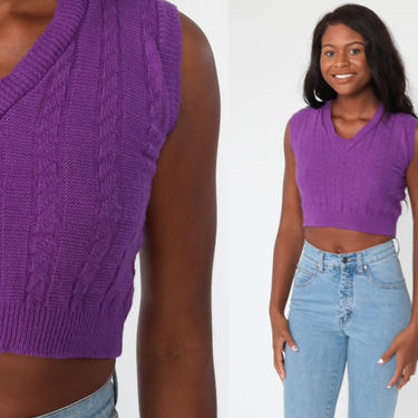 70s Knit Vest Top xs Purple Cropped Shirt Crop Top Sleeveless Sweater V Neck Tank Cable Knit Pullover 1970s Retro Vintage Extra Small xs by ShopExile