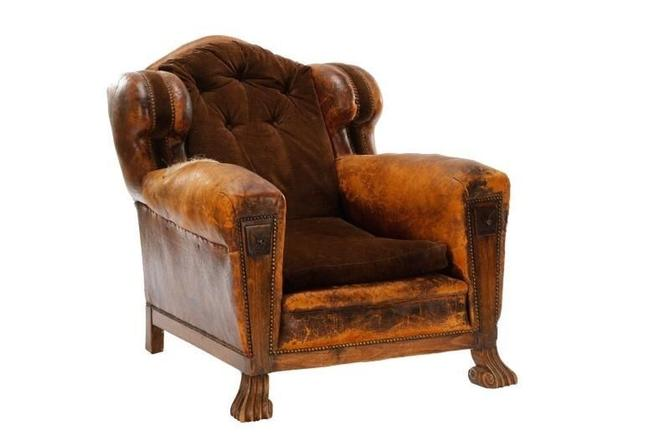 Antique Distressed Leather English Cigar Club Chair w/Drawers | c. 1900