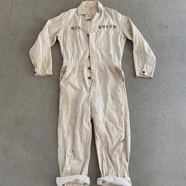 Vintage White Cotton Painter Coverall   Jump Suit Jumpsuit Smock   Onesie Studio Ceramic Uniform Artist Splatter Boilersuit by RAWSONSTUDIO
