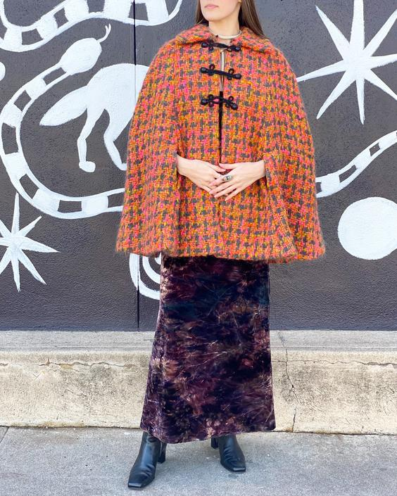 60's Pink & Orange Wool Cape