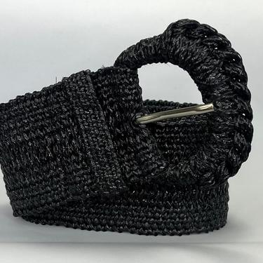 Vintage 1980s Black Woven Wide Belt with Large Buckle by timelesspieces
