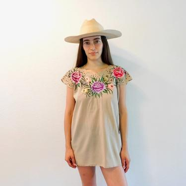 Taupe Crochet Blouse // vintage boho hippie Mexican embroidered dress hippy tunic mini dress beige 80s // O/S by FenixVintage