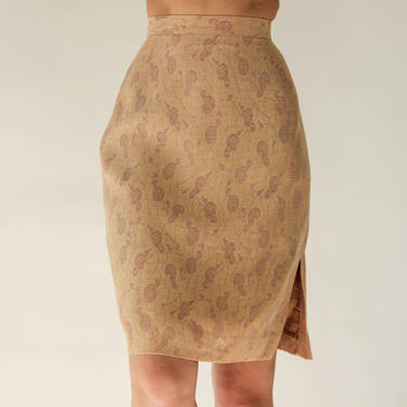 Vintage 80s Giorgio Armani Light Tan Linen & Silk Blend High Waisted Skirt w/ Lavender Calabash Print | Made in Italy | 1980s Designer Skirt by TheVault1969