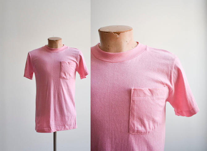 1980s Pink Blank Pocket Tee Small by milkandice