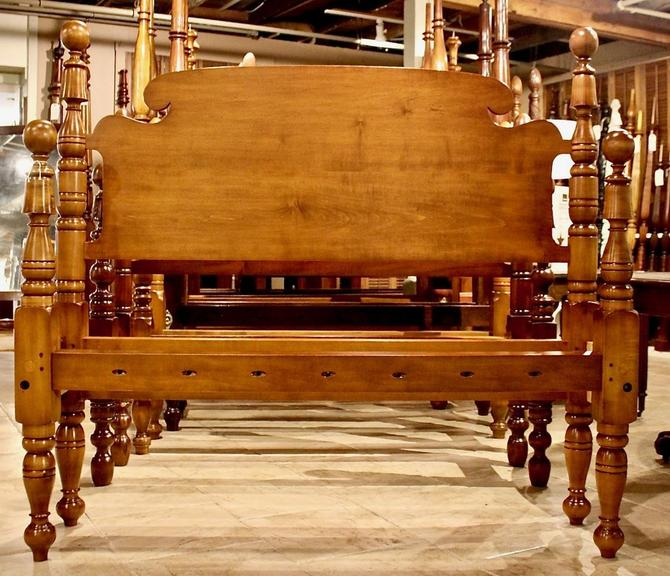 Ball & Bell Bed in Maple, Original Posts Circa 1830, Resized to Queen