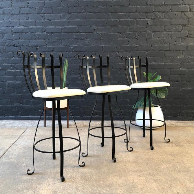 Set of 3 Vintage Swivel Iron Stools with New Upholstery by VintageSupplyLA