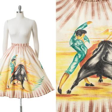 Vintage 1950s Circle Skirt   50s Mexican Hand Painted Bullfighter Torero Novelty Print Cotton Souvenir Skirt (xs/small/medium) by BirthdayLifeVintage