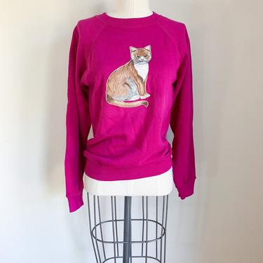 Vintage 1990s Hot Pink Cat Applique Sweatshirt / S-M by MsTips
