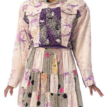 1980S Purple Printed Skirt, Top & Jacket Ensemble Made From Japanese Kimono Silk by SHOPMORPHEW