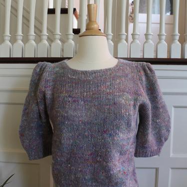 Vintage 80s Wide Balloon Sleeve Rainbow Speckled Lavender Purple Wool & Angora Short Sleeve Sweater Women's Size M by NeonSkyVintageMN