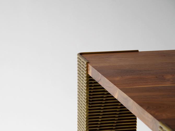 dining table from walnut and steel - northwest deco table - birdloft original design by birdloft