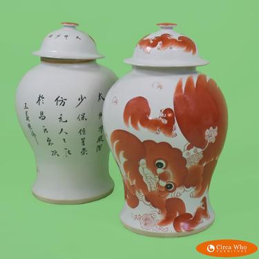 Pair of Foo Dogs Ginger Jars