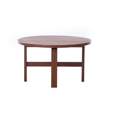 danish modern butcher block teak round coffee table