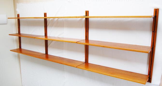 Scandinavian Modern 3 Bay Wall-Mount Teak Shelving System Made in Norway by MidCentury55