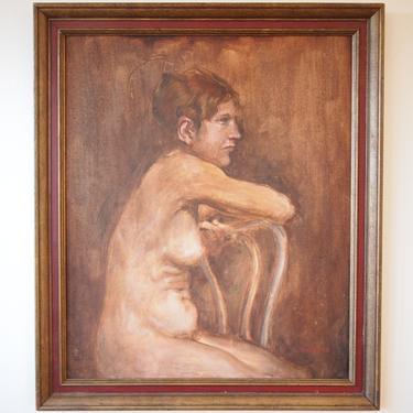 "Original Robert DOKTOR NUDE Portrait PAINTING Female Woman Chair 27x23"" Oil / Board, Mid-Century Modern Art folk outsider eames knoll era by refugegallery"