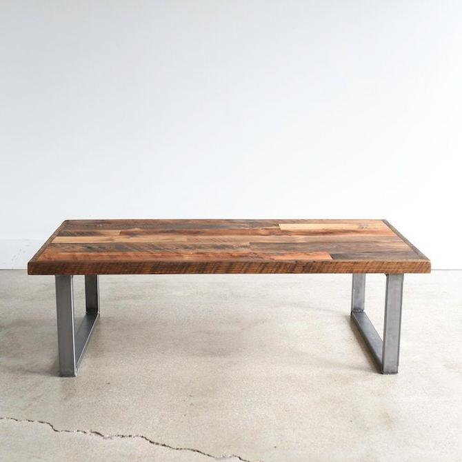 Rustic Coffee Table made from Reclaimed Wood / Patchwork Barn Wood Coffee Table / Industrial Steel Legs by wwmake