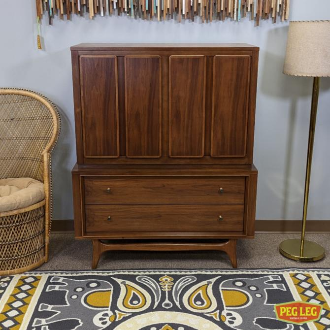 Mid-Century Modern walnut chest-on-chest from the 'Insignia' collection by Kent Coffey