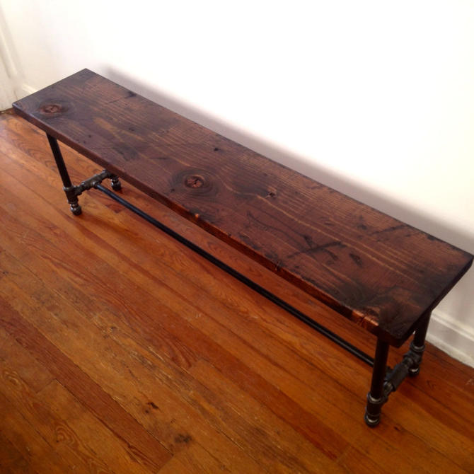 The BRIXTON Dining Bench - Reclaimed Wood Bench - Reclaimed Wood & Pipe Bench by arcandtimber