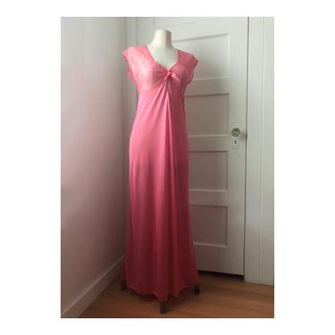 1960s Pretty In Pink Lace Nightgown Slip- size med by VeeVintageShop