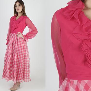 Miss Elliette Hot Pink Dress / Ruffle Layered Sheer Chiffon / Vintage 70s Tuxedo Avant Garde / Plaid Checker Full Skirt Maxi Dress by americanarchive