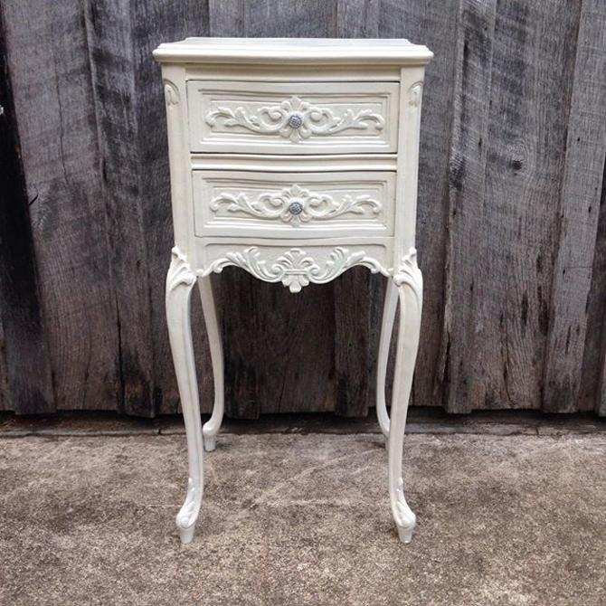 """Pretty French 2-drawer stand. Dim: 14""""w x 12""""d x 29""""h $85  www.fabfinds4you.com  #fabfinds4you"""