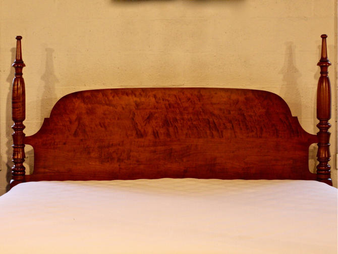 Sheraton Field Bed in Tiger & Birds Eye Maple, Resized to King. Circa 1830