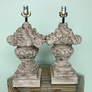 Pair of Carved Topiary Fruit Lamps