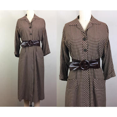 Vintage 40s Brown and White Check Dress Plaid Button Down Patent Belt 1940s Rayon M by FlashbackATX