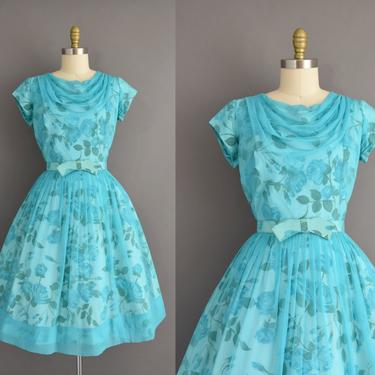 vintage 1950s dress | Gorgeous Turquoise Blue Rose Print Full Skirt Cocktail Party Bridesmaid Dress | Large | 50s vintage dress by simplicityisbliss
